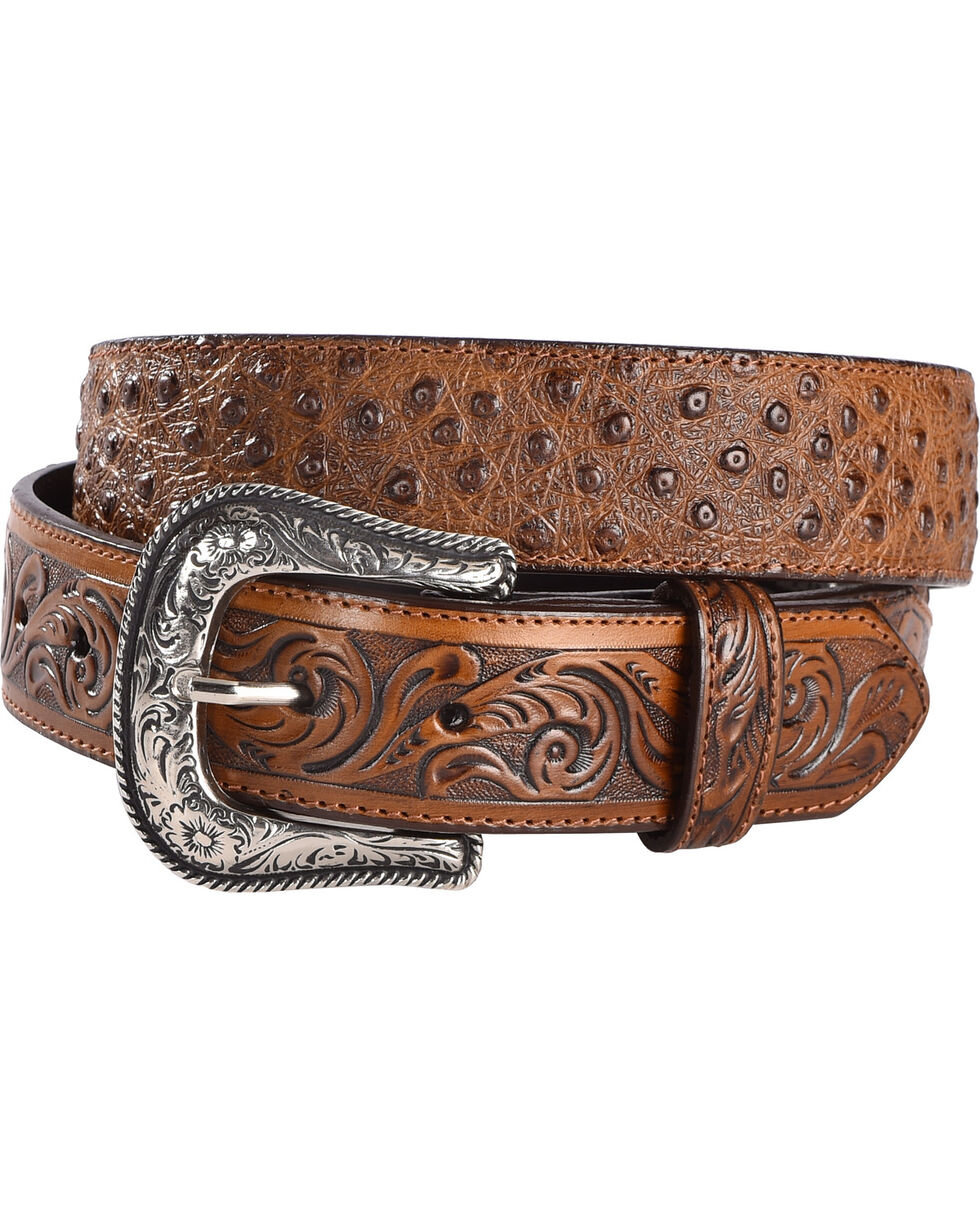 Cody James Men's Ostrich Print Tooled Leather Western Belt, , hi-res