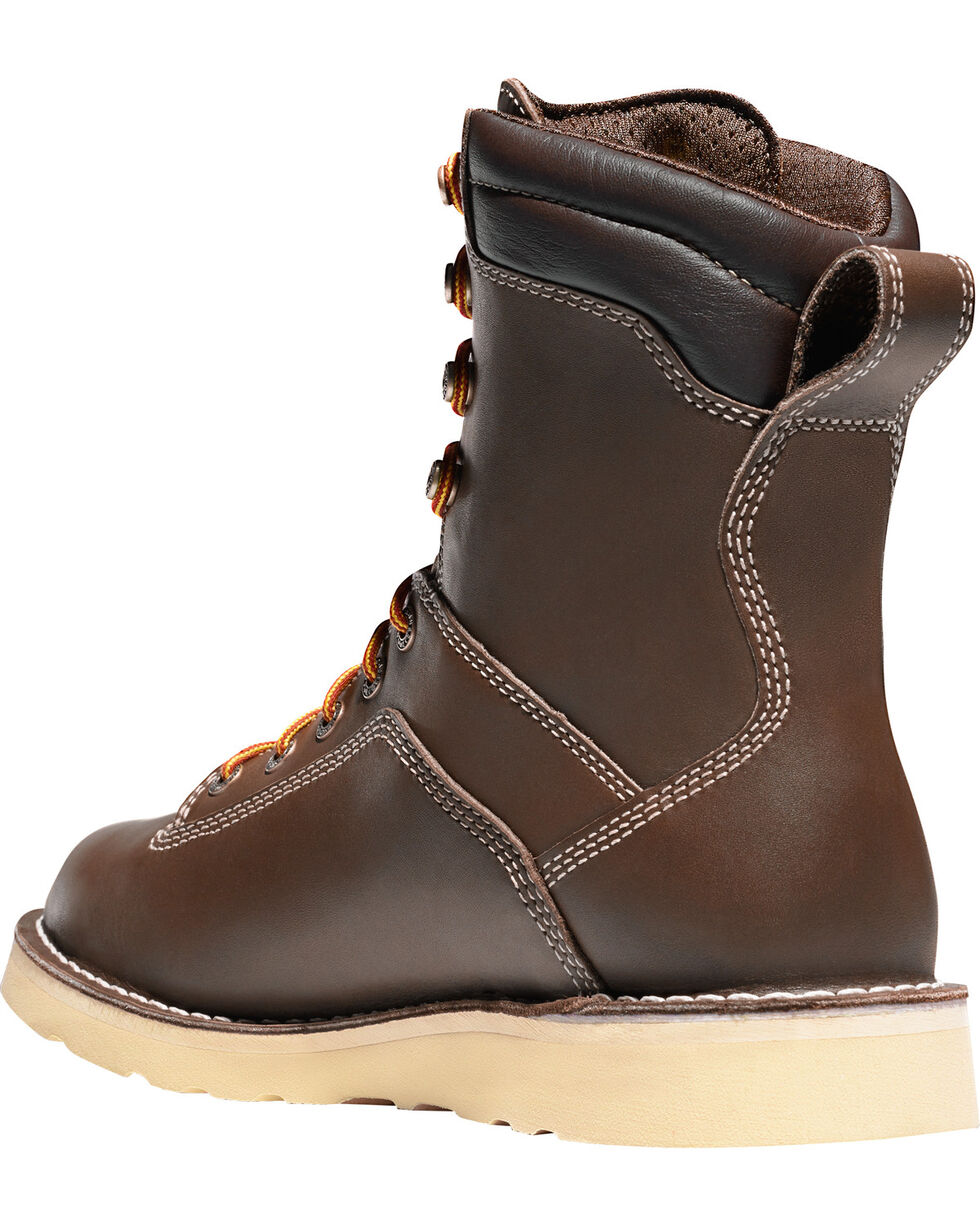 "Danner Men's Brown Quarry USA 8"" Wedge Work Boots - Soft Round Toe , Brown, hi-res"