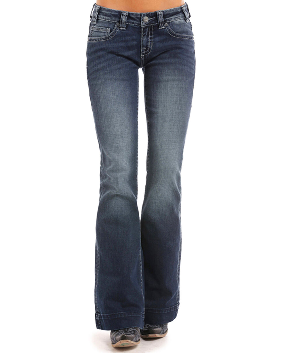 Rock & Roll Cowgirl Women's Ivory Stitch Trouser Jeans , Blue, hi-res