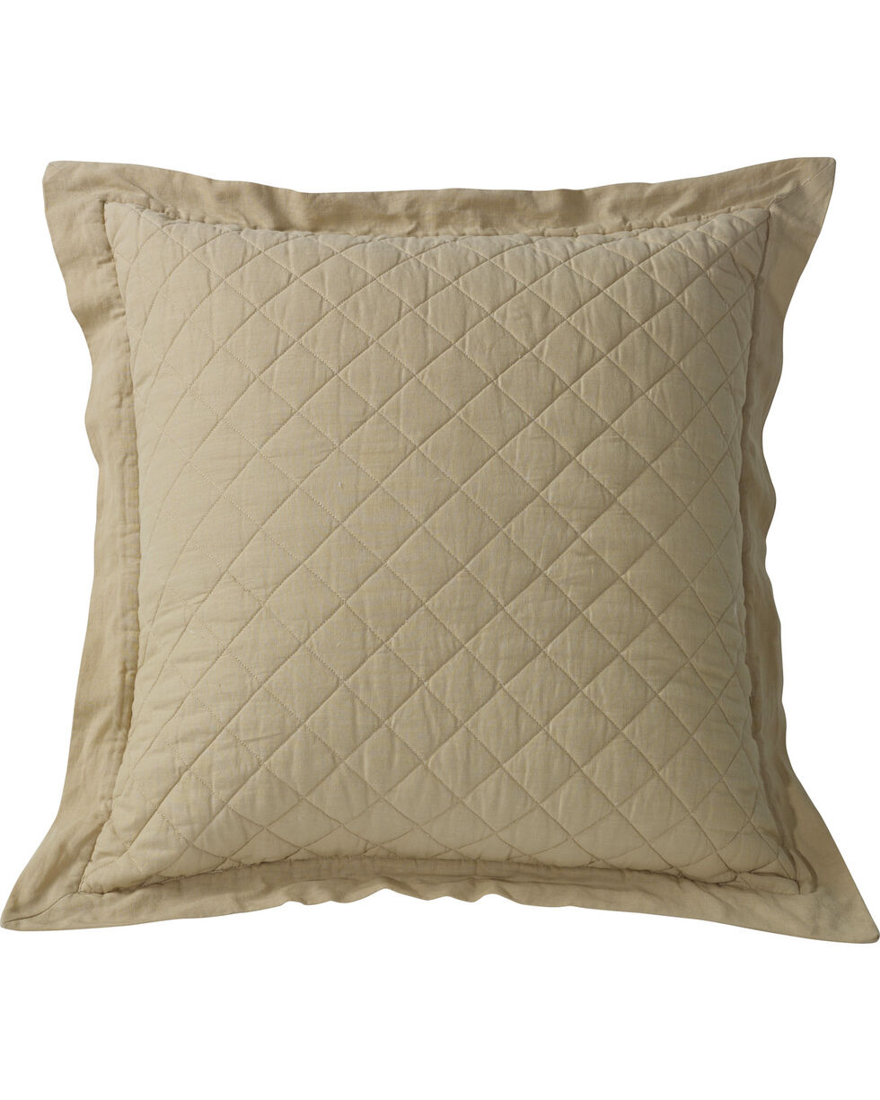 HiEnd Accents Diamond Pattern Quilted Khaki Euro Sham, Khaki, hi-res
