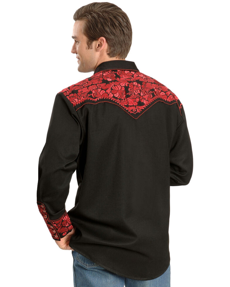 Scully Men's Crimson Floral Embroidery Retro Long Sleeve Western Shirt, Dark Red, hi-res