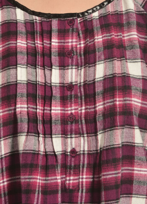 Red Ranch Plum Plaid Pleather Trim Pleated Flannel Top , Plum Plaid, hi-res