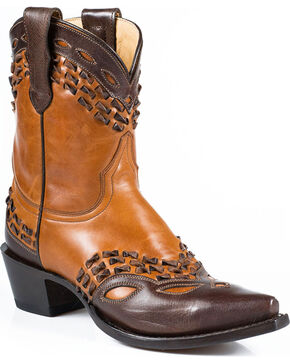 "Stetson Women's 8"" Burnished Box Stitch Western Boots - Snip Toe, Tan, hi-res"