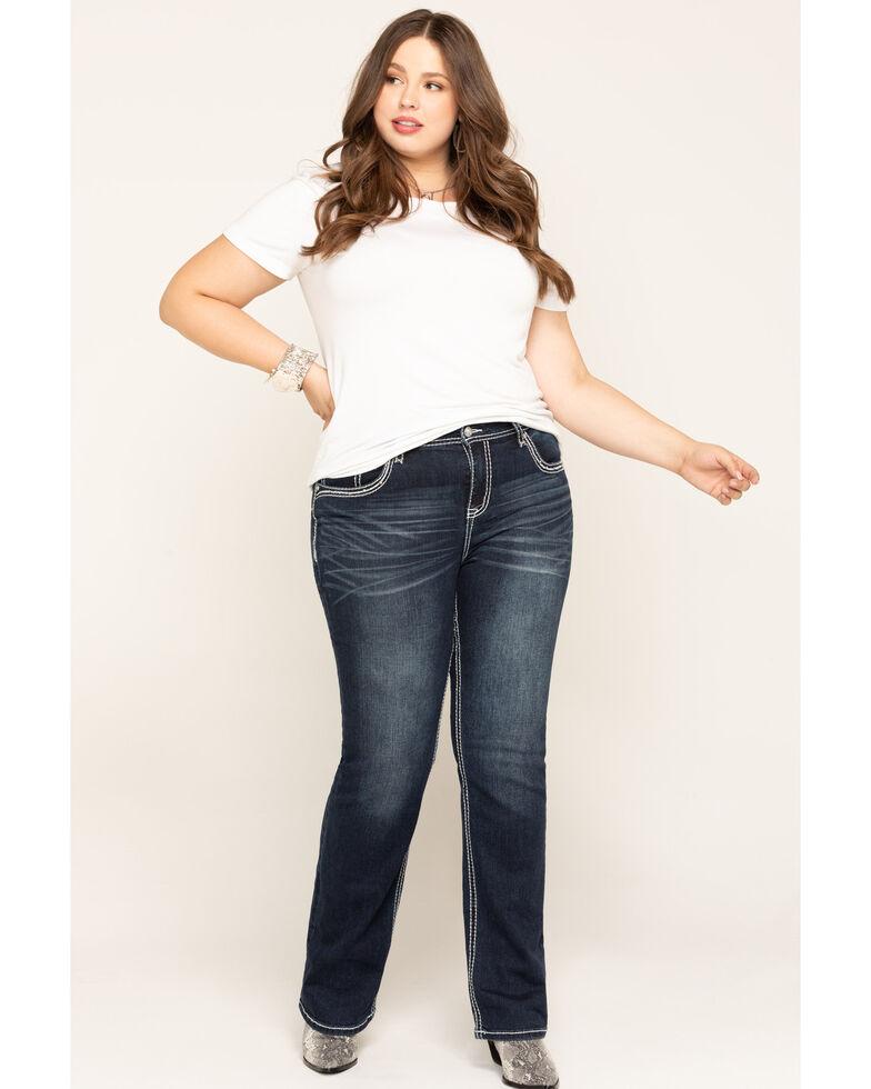 Grace in LA Women's Dark Jewel Pocket Straight Jeans - Plus , Blue, hi-res