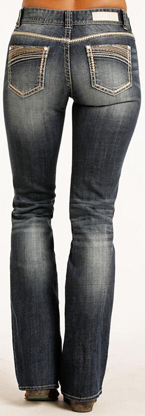 Rock & Roll Cowgirl Women's Indigo Multi-Color Stitch Mid-Rise Jeans - Boot Cut, Indigo, hi-res
