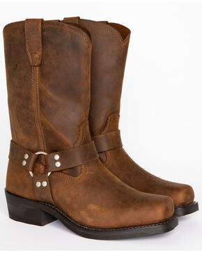 Woodland HARLEY Mens Leather Square Toe Ankle Biker Western Cowboy Boots 6-12