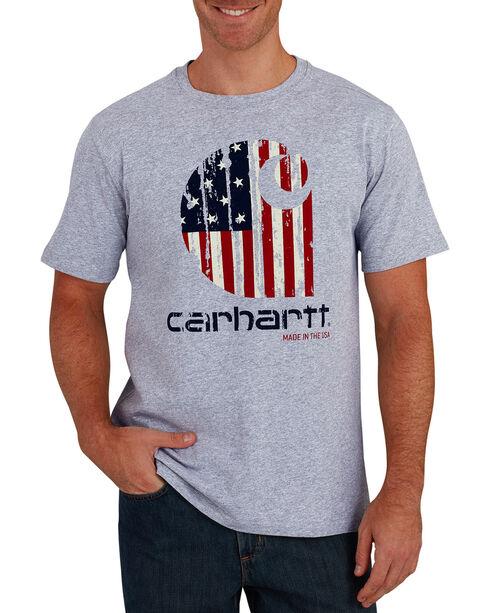 Carhartt Men's Grey Lubbock Graphic American Branded 'C' Short-Sleeve T-Shirt, Grey, hi-res