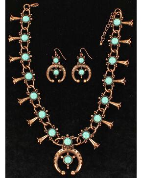 Blazin Roxx Women's Squash Blossom Copper Jewelry Set , Rust Copper, hi-res