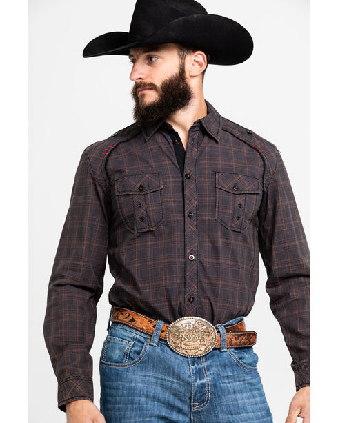 Austin Season Men's Embroidered Cross Plaid Button Down Shirt, Brown, hi-res
