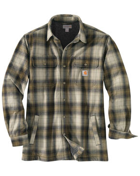 Carhartt Men's Hubbard Flannel Long Sleeve Work Shirt Jacket - Tall , Olive, hi-res