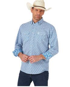 George Strait By Wrangler Men's Blue Floral Troubadour Long Sleeve Western Shirt - Tall, Blue, hi-res