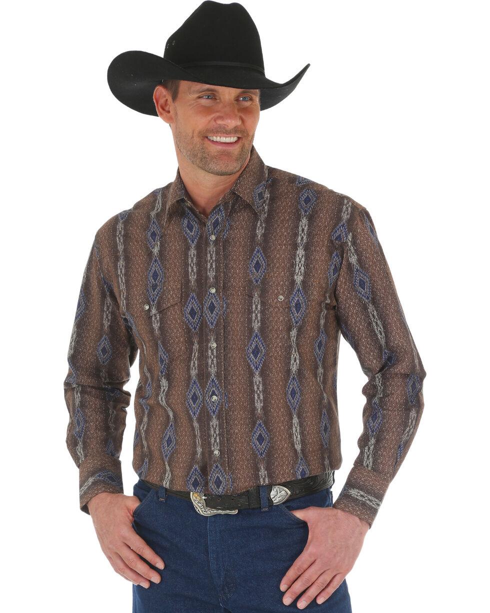 Wrangler Men's Brown Checotah Vertical Stripe Print Western Shirt , Brown, hi-res