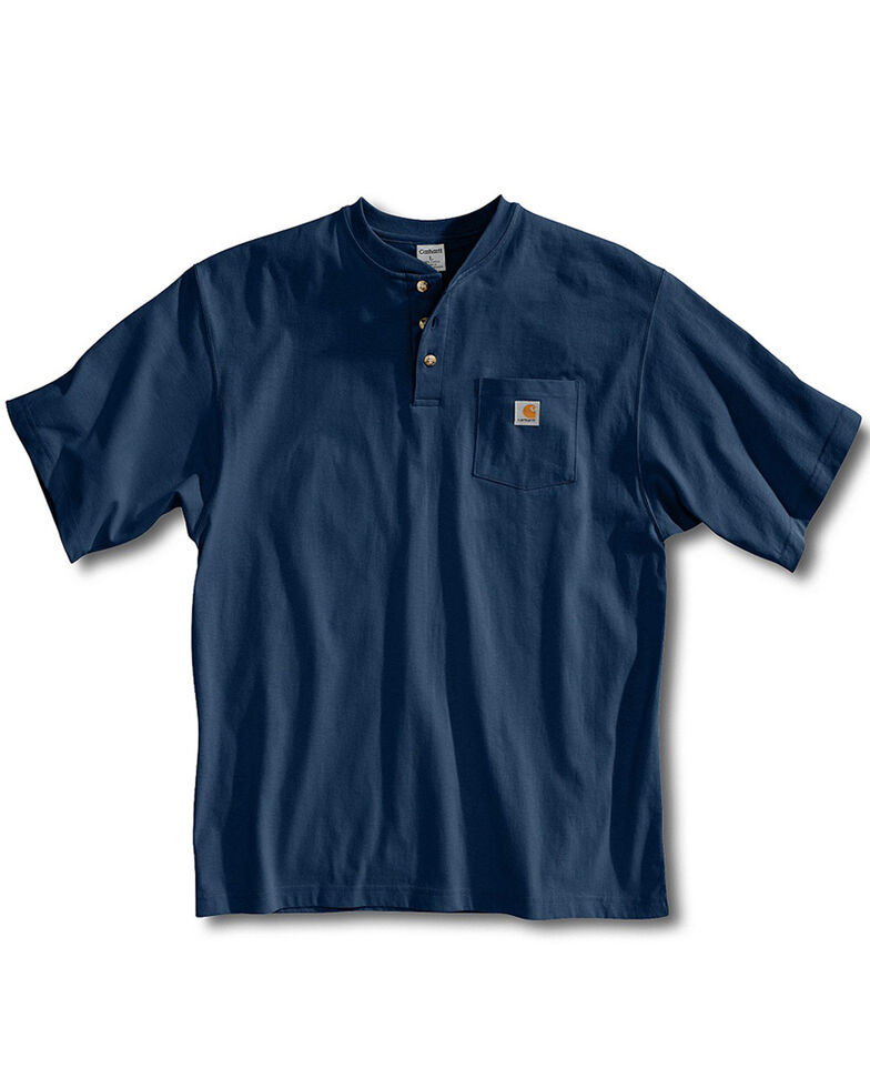 Carhartt Men's Short Sleeve Henley Work Shirt - Big & Tall, Navy, hi-res