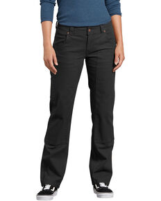 Dickies Women's Stretch Duck Relaxed Double Front Carpenter Pants, Black, hi-res