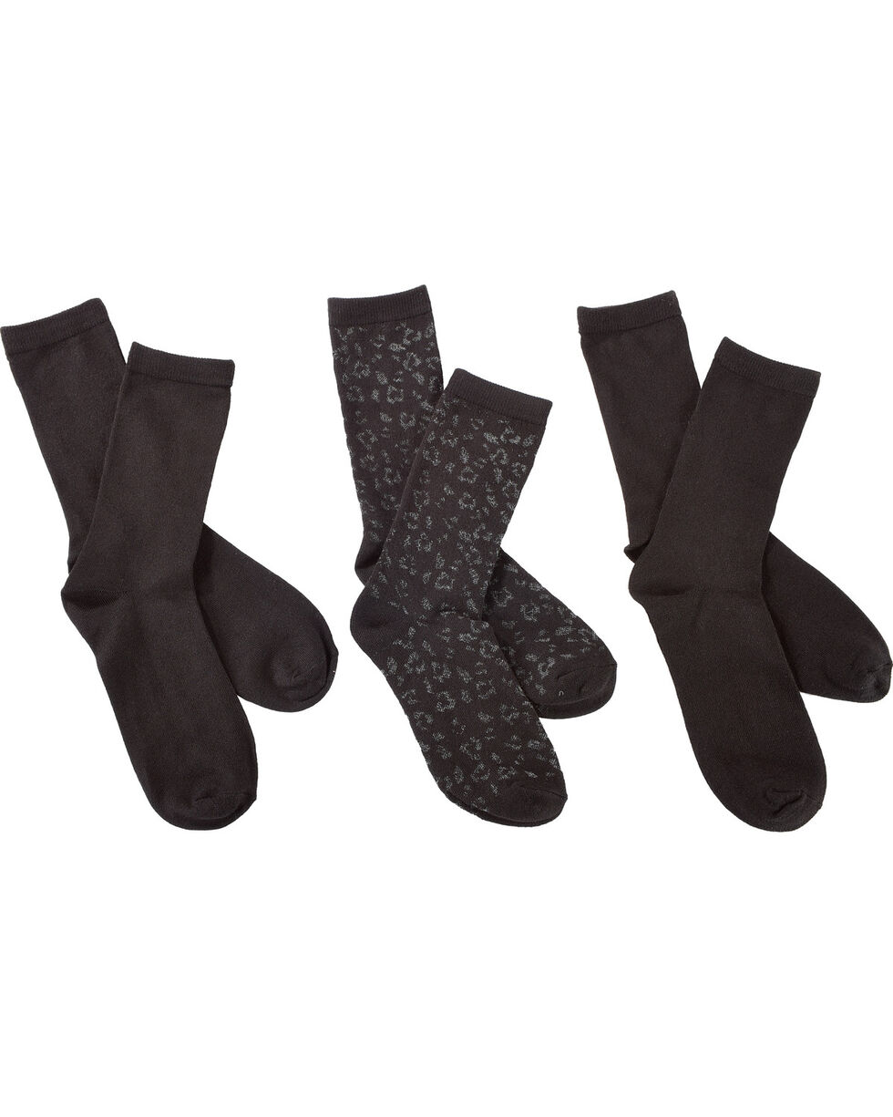 K-Bell Women's 3-Pack Leopard Crew Socks, Black, hi-res