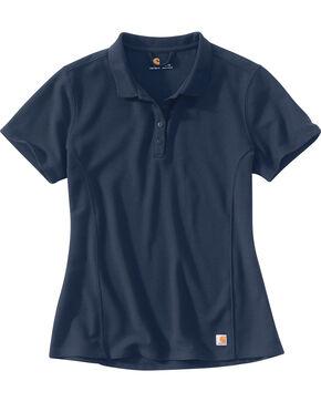 Carhartt Women's Contractor's Short Sleeve Work Polo , Navy, hi-res