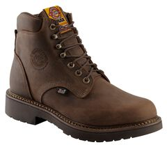 """Justin J-Max Rugged Gaucho 6"""" Lace-Up Work Boots - Round Toe, Brown, hi-res"""