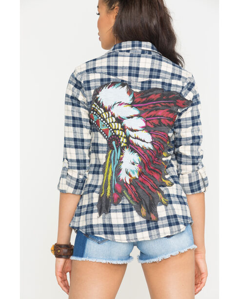 Bohemian Cowgirl Women's Cream Indian Spirit Flannel Shirt , Cream, hi-res