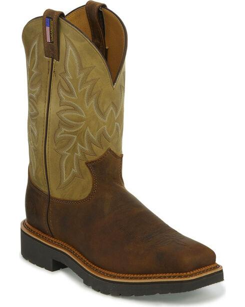Justin Men's Scottsbluff Work Boots - Steel Toe, Brown, hi-res