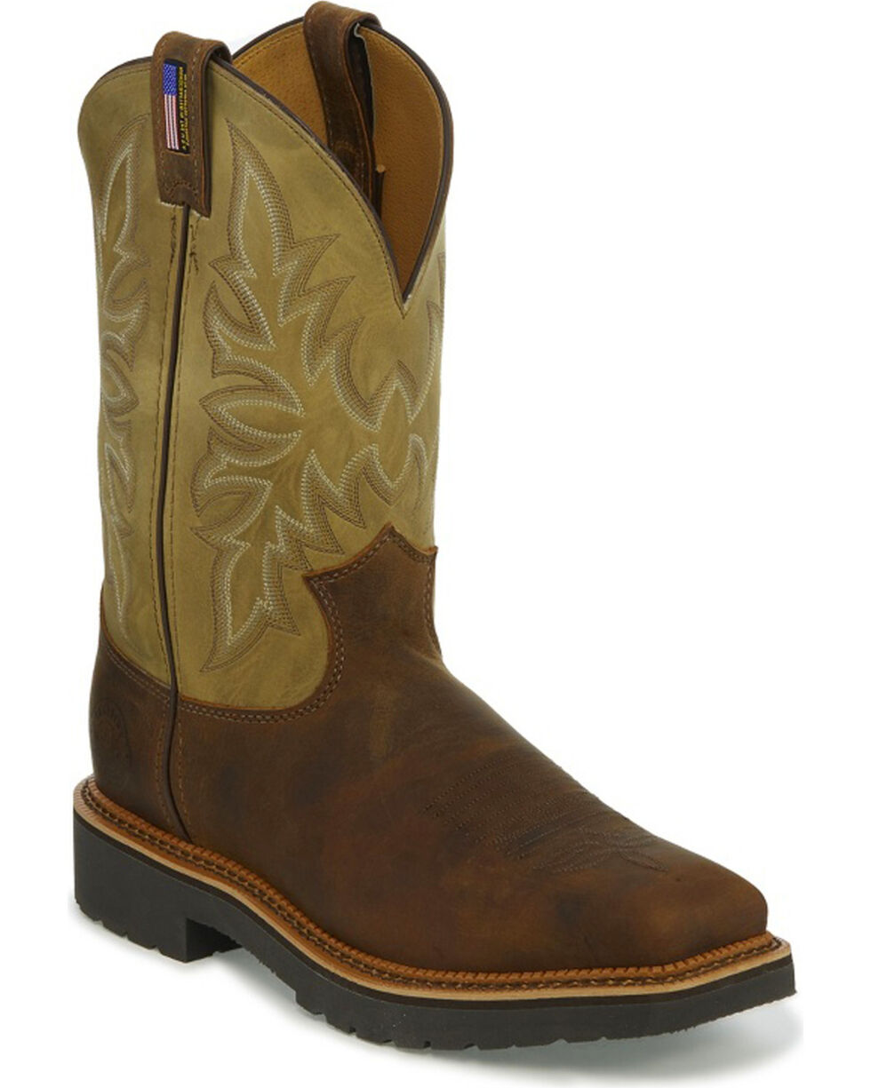 Justin Men's Scottsbluff Tan Electrical Hazard Work Boots - Steel Toe, Brown, hi-res
