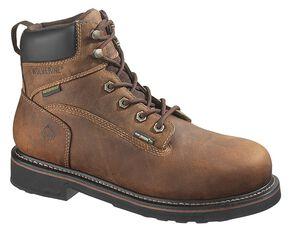 """Wolverine Brek Durashocks 6"""" Waterproof Work Boots - Steel Toe, Dark Brown, hi-res"""