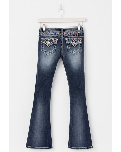 Miss Me Girls' Blue Peace and Love Embroidered Jeans - Boot Cut , Blue, hi-res