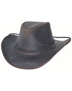Bullhide Black Chocolate Hilltop Leather Outback Western Hat , Black, hi-res