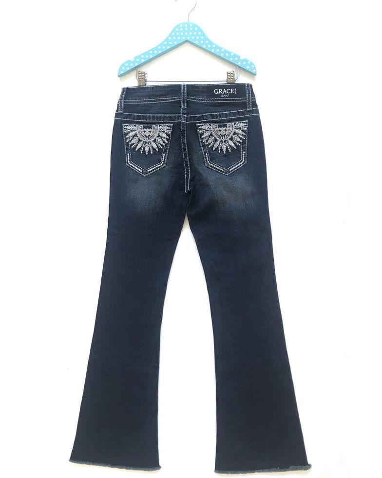 Grace In LA Girls' Dark Wash Dreamcatcher Catcher Feather Pocket Bootcut Jeans, Blue, hi-res