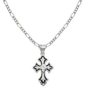 Montana Silversmiths Silver-Tone & Black Filigree Cross Necklace, Silver, hi-res