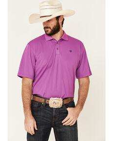 Ariat Men's Violet Tek Short Sleeve Polo Shirt , Purple, hi-res