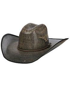 Justin Men's Black Fenix Bent Rail Midnight Bangora Straw Western Hat , Black, hi-res