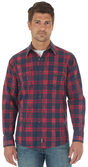 Wrangler Retro® Red Long Sleeve Plaid Shirt , Red, hi-res