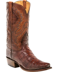 Lucchese Men's McKinley Dark Cognac Nile Crocodile Western Boots - Square Toe, Cognac, hi-res