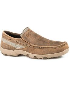 9441d5229a372a Roper Mens Owen Slip-On Shoes - Moc Toe, Brown, hi-res