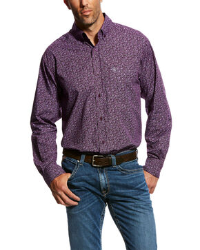 Ariat Men's Murdoch Floral Print Long Sleeve Western Shirt - Big & Tall , Purple, hi-res