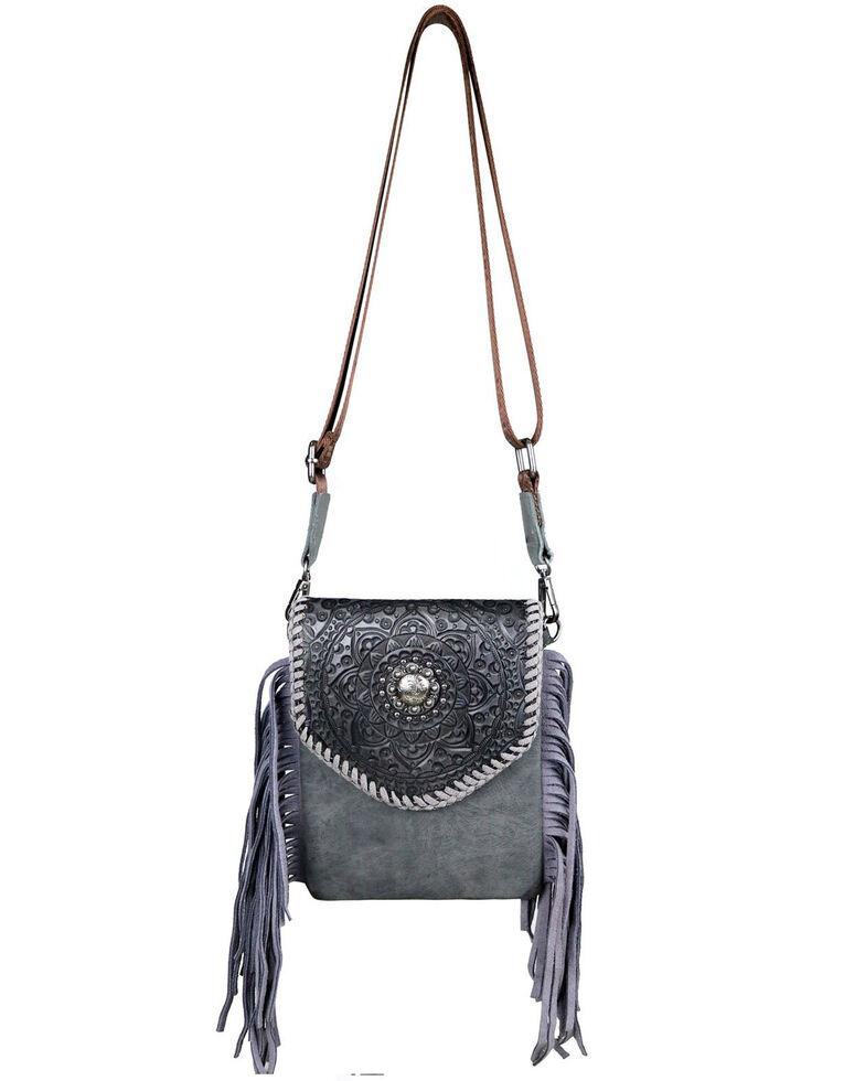 Montana West Women's Mandala Pattern Leather Crossbody Bag, Grey, hi-res