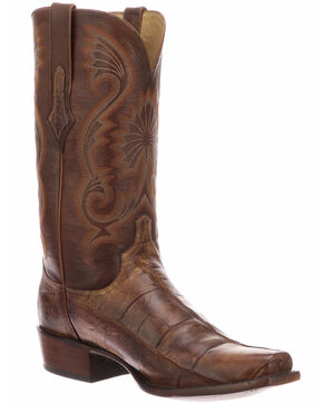 Lucchese Men's Rio Brown/Tan Giant Gator Western Boots - Square Toe, Brown, hi-res