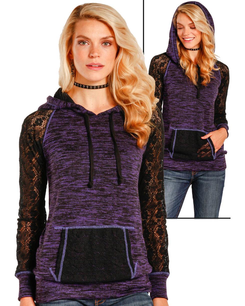 Panhandle Women's Purple Color Blocked Pullover Hoodie , Purple, hi-res