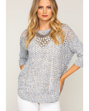 Shyanne Women's Scoop Neck Knitted Sweater, Blue, hi-res