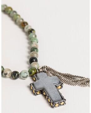 Shyanne Women's Jade Sea Beaded Tassel Necklace, Silver, hi-res