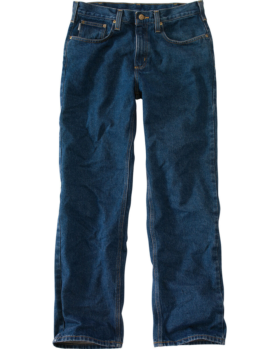 Carhartt Relaxed Fit Straight Leg Five Pocket Work Jeans, Dark Denim, hi-res