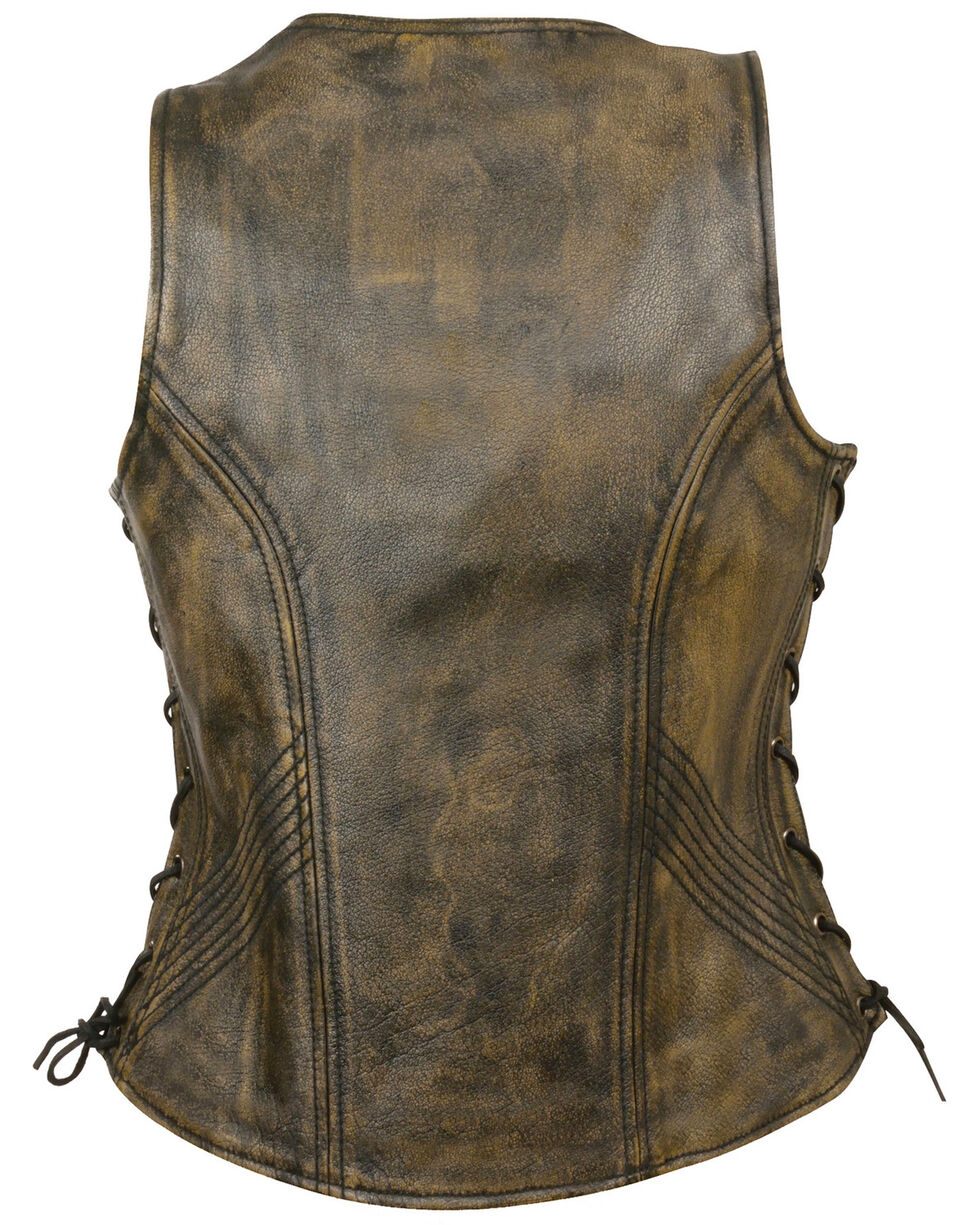 Milwaukee Leather Women's Open Neck Side Lace Zipper Front Vest - 3X, , hi-res