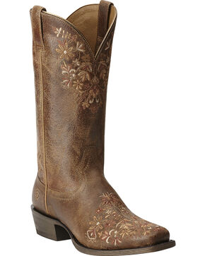 Ariat Women's Ardent Cowgirl Boots - Square Toe, Brown, hi-res