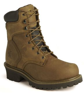 "Chippewa IQ Insulated 8"" Lace-Up Logger Boots - Steel Toe, Bark, hi-res"