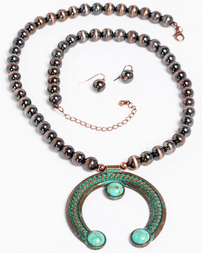Shyanne Women's Patina Turquoise Rope Squash Blossom Copper Necklace Set, Turquoise, hi-res