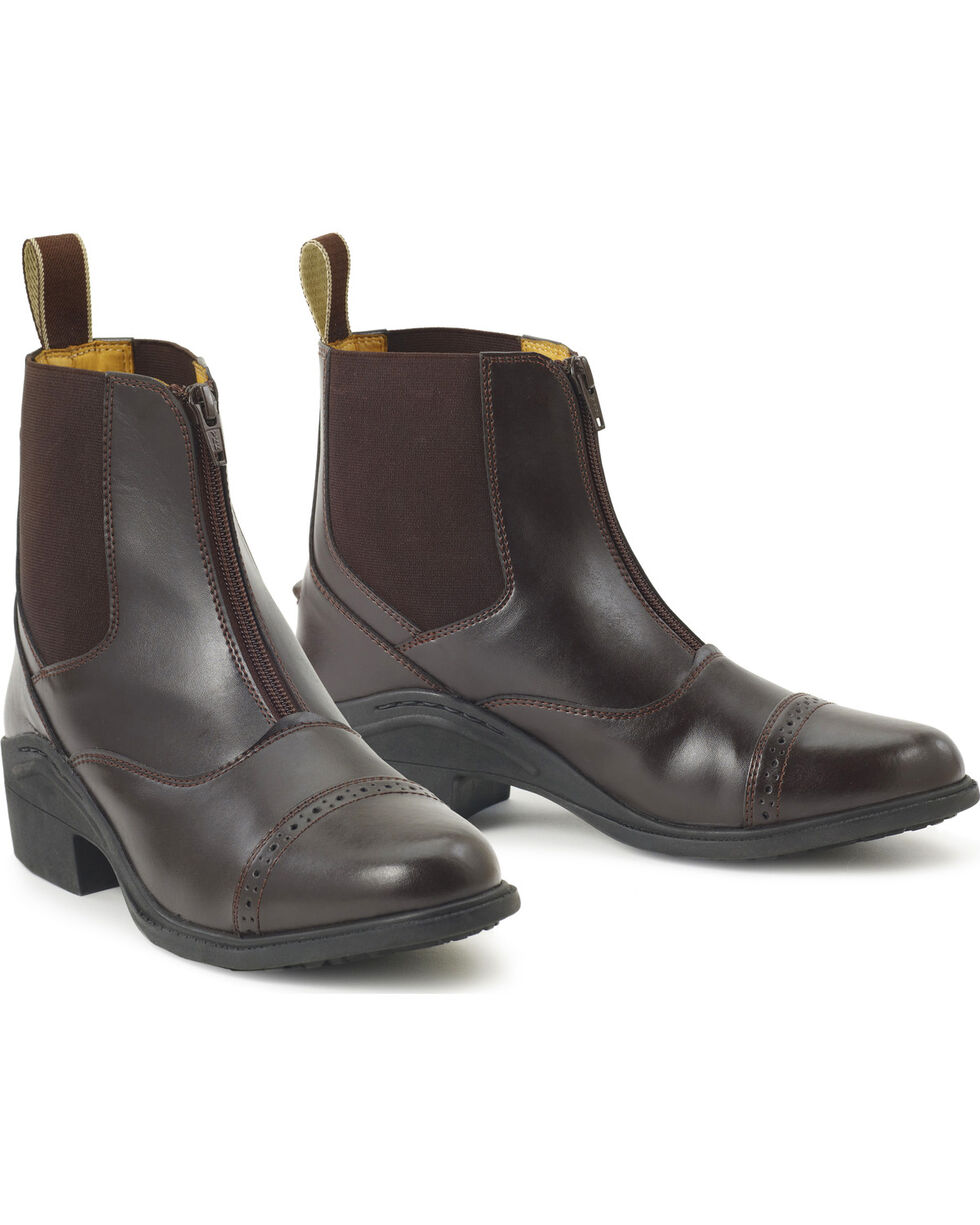 Ovation Synergy Zip Front Women's Brown Paddock Boots, Brown, hi-res