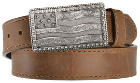 Justin Men's Flying High Flag Buckle Leather Belt, Brown, hi-res