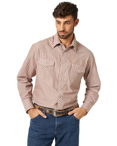 Wrangler Men's Assorted Stripe or Plaid Classic Long Sleeve Western Shirt, Stripe, hi-res