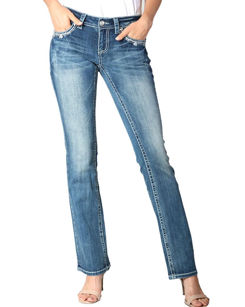 Grace in LA Women's Medium Cross Bootcut Jeans , Blue, hi-res