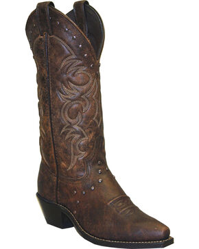 Abilene Boots Women's Vintage Nailhead Cowgirl Boots - Snip Toe, Brown, hi-res